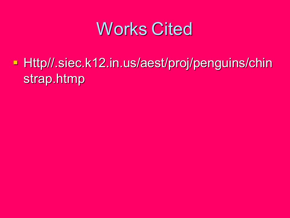 Works Cited Http//.siec.k12.in.us/aest/proj/penguins/chinstrap.htmp