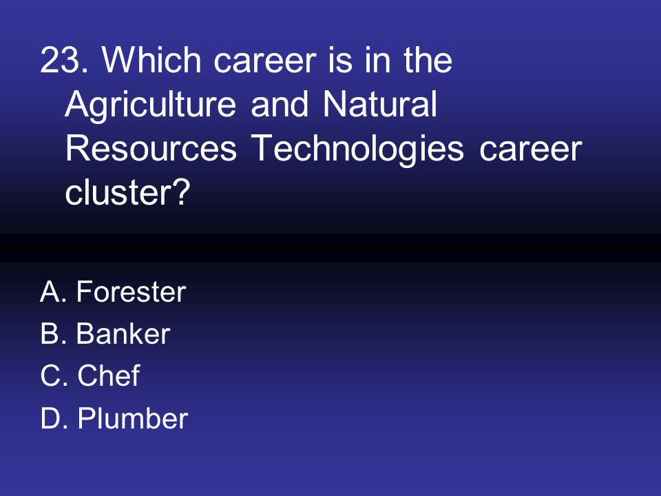 23. Which career is in the Agriculture and Natural Resources Technologies career cluster