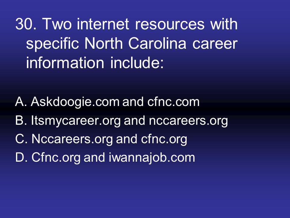 30. Two internet resources with specific North Carolina career information include: