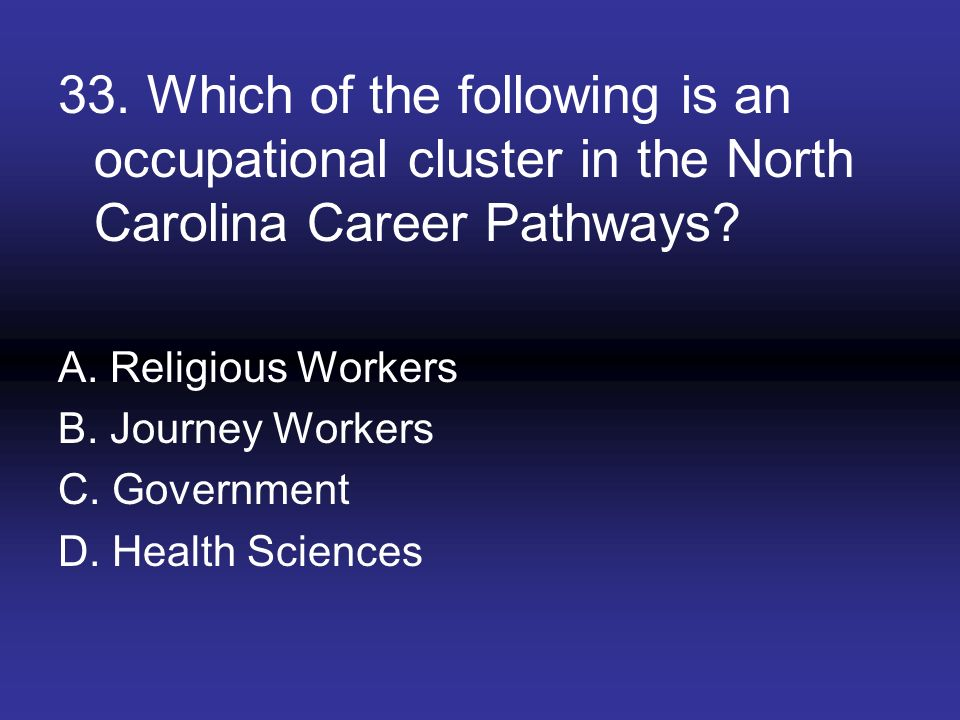 33. Which of the following is an occupational cluster in the North Carolina Career Pathways