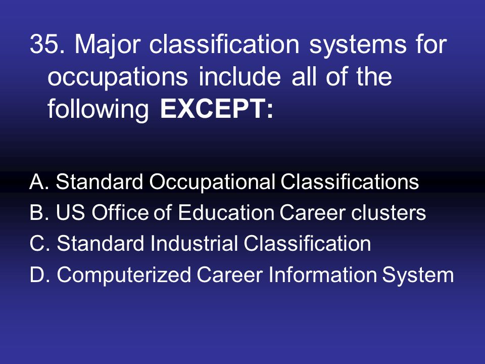 35. Major classification systems for occupations include all of the following EXCEPT: