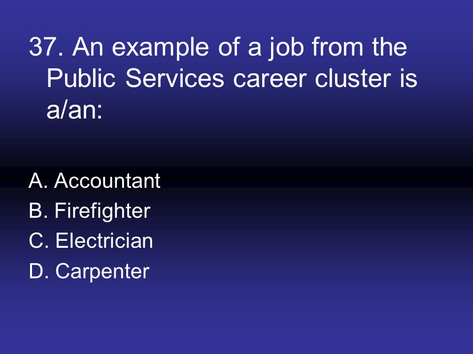 37. An example of a job from the Public Services career cluster is a/an: