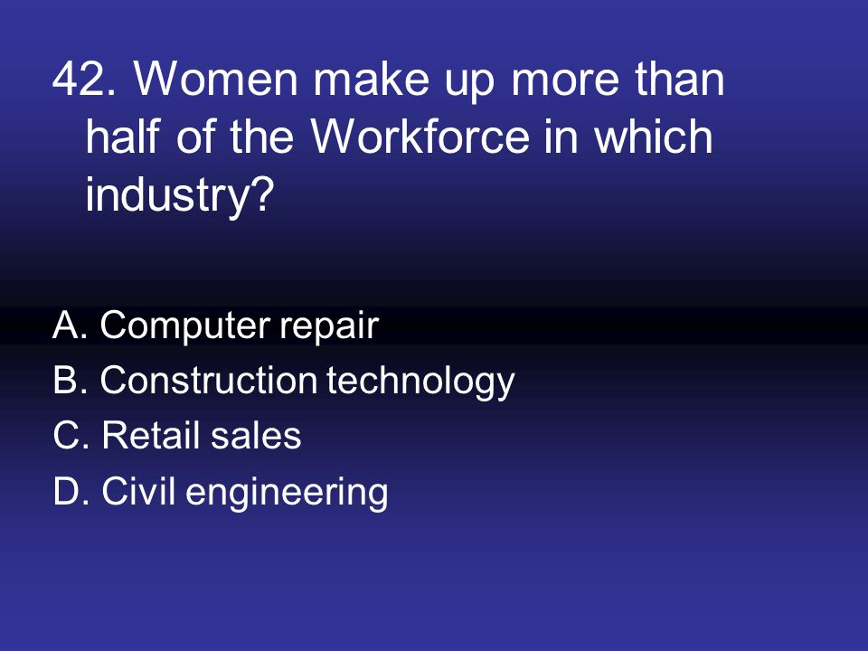 42. Women make up more than half of the Workforce in which industry