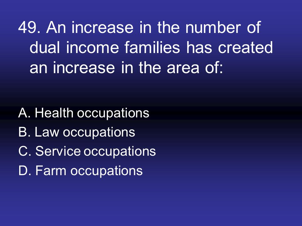 49. An increase in the number of dual income families has created an increase in the area of: