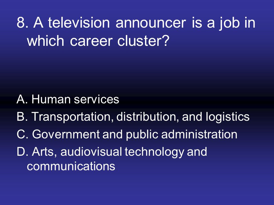 8. A television announcer is a job in which career cluster