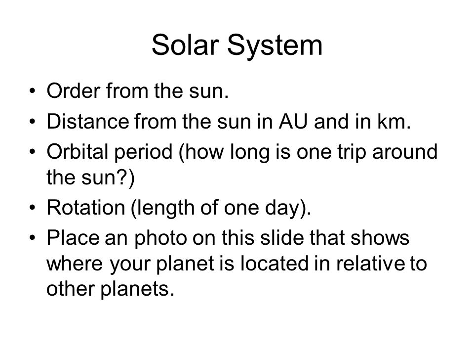 Solar System Order from the sun.