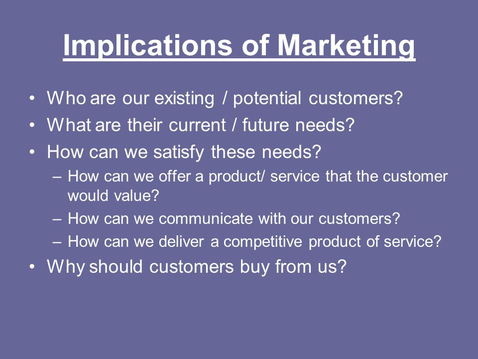 Implications of Marketing