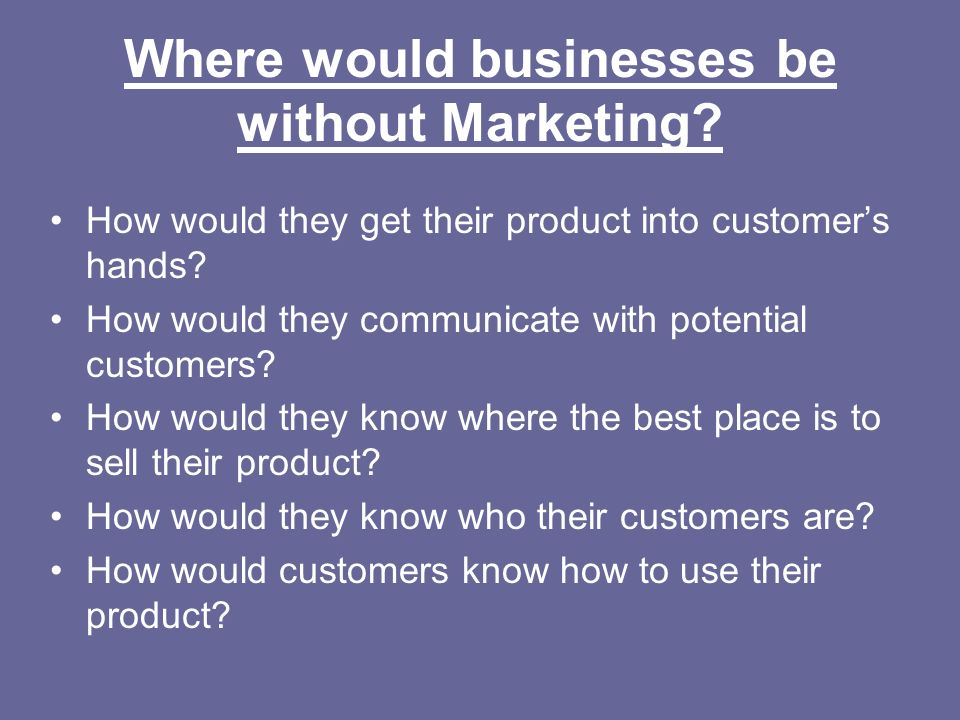 Where would businesses be without Marketing