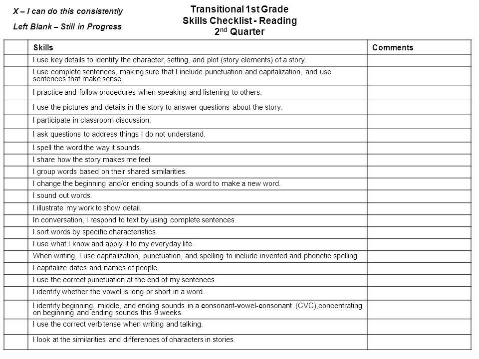 Transitional 1st Grade Skills Checklist – Reading 1st Quarter ...