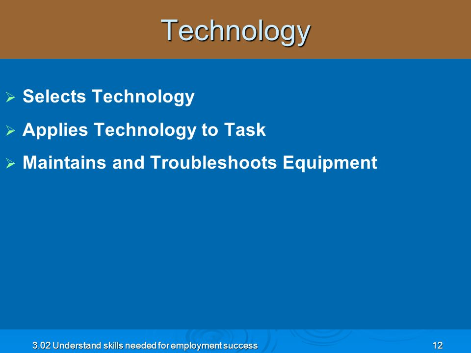 Technology Selects Technology Applies Technology to Task