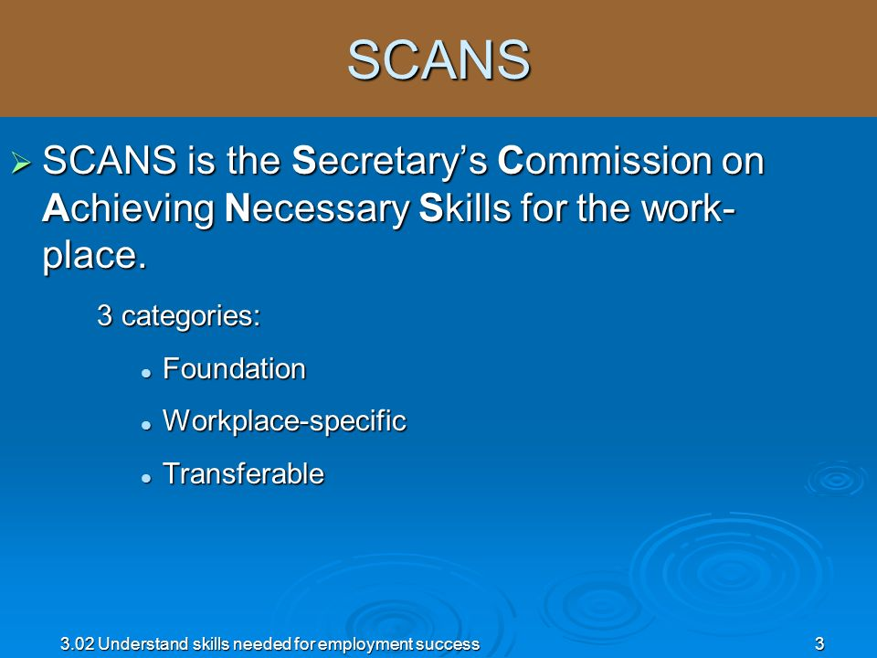 SCANS SCANS is the Secretary's Commission on Achieving Necessary Skills for the work-place. 3 categories: