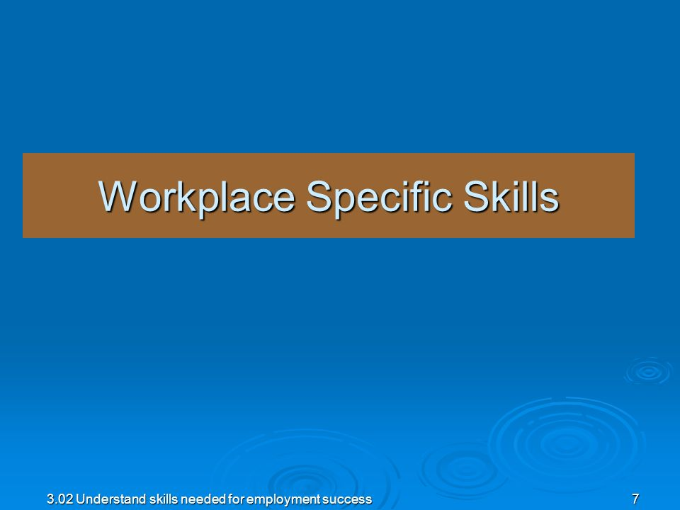 Workplace Specific Skills