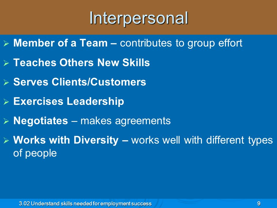 Interpersonal Member of a Team – contributes to group effort