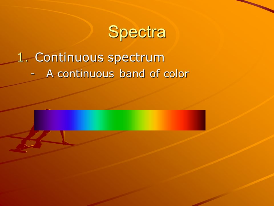 Spectra Continuous spectrum A continuous band of color