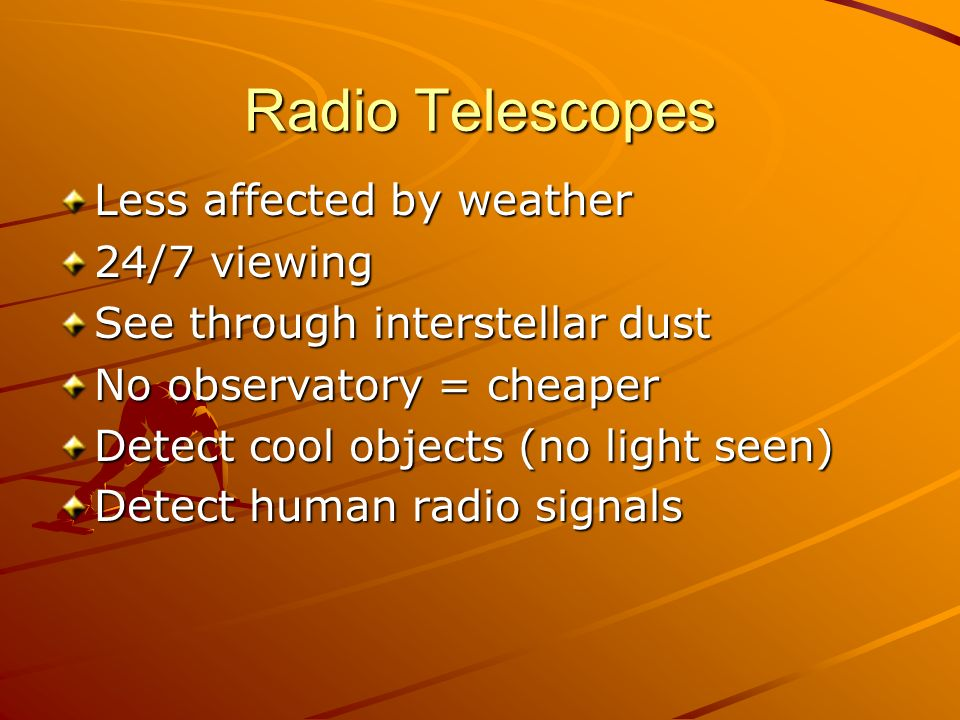Radio Telescopes Less affected by weather 24/7 viewing