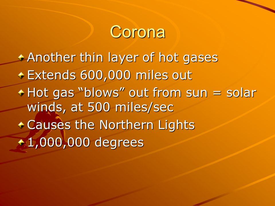 Corona Another thin layer of hot gases Extends 600,000 miles out