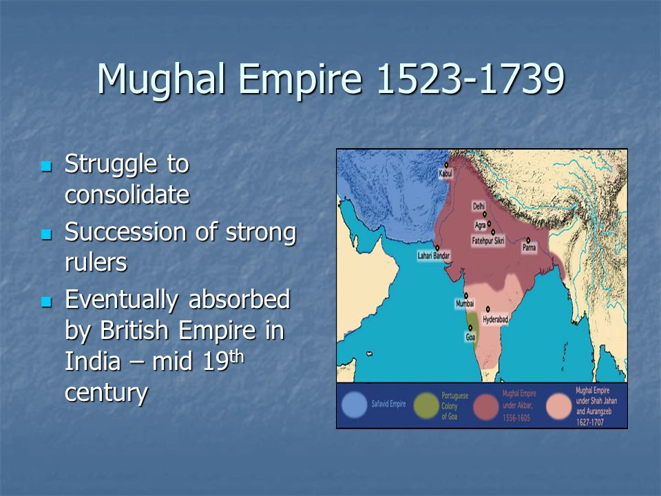 Mughal Empire 1523-1739 Struggle to consolidate