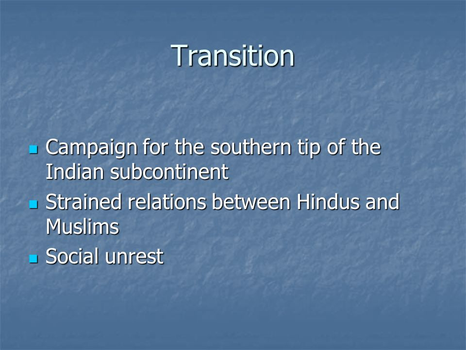 Transition Campaign for the southern tip of the Indian subcontinent