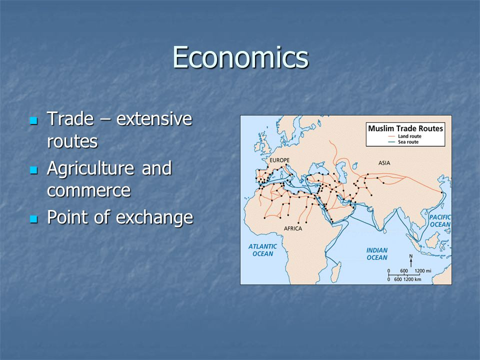 Economics Trade – extensive routes Agriculture and commerce