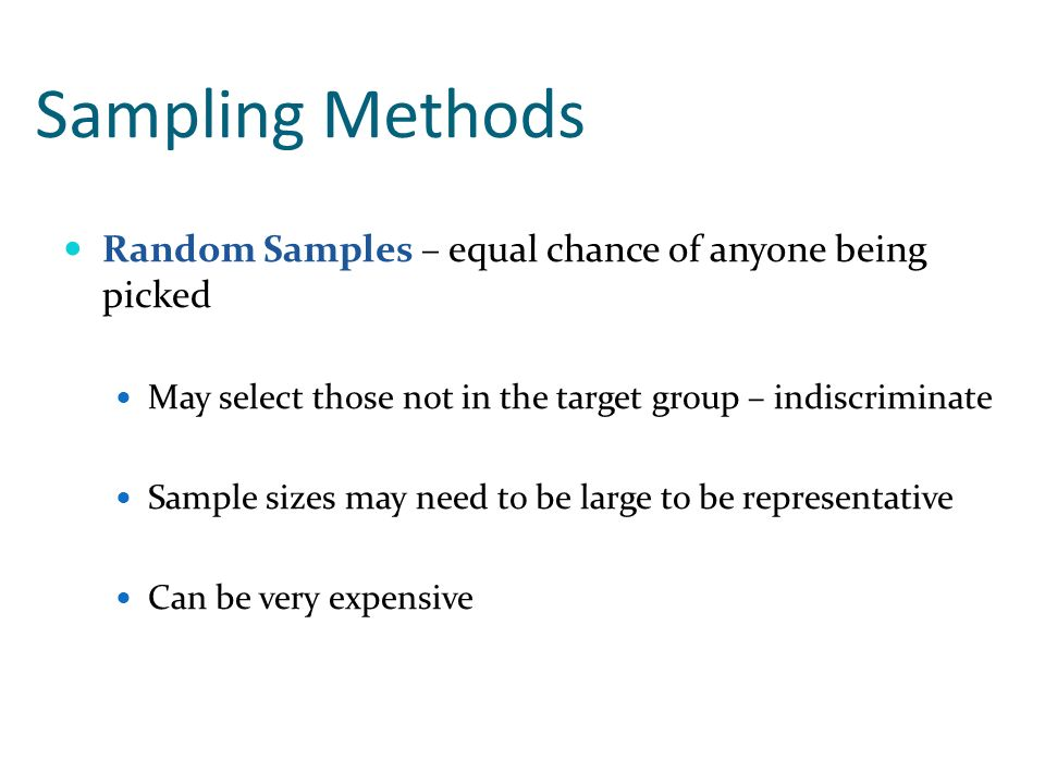 Sampling Methods Random Samples – equal chance of anyone being picked