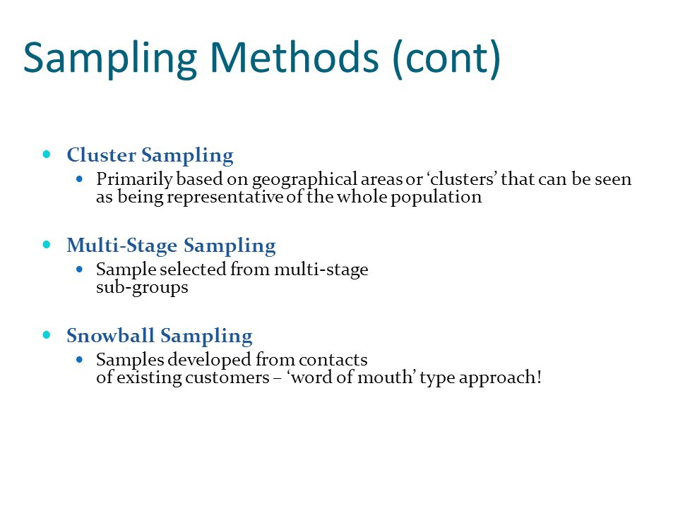 Sampling Methods (cont)