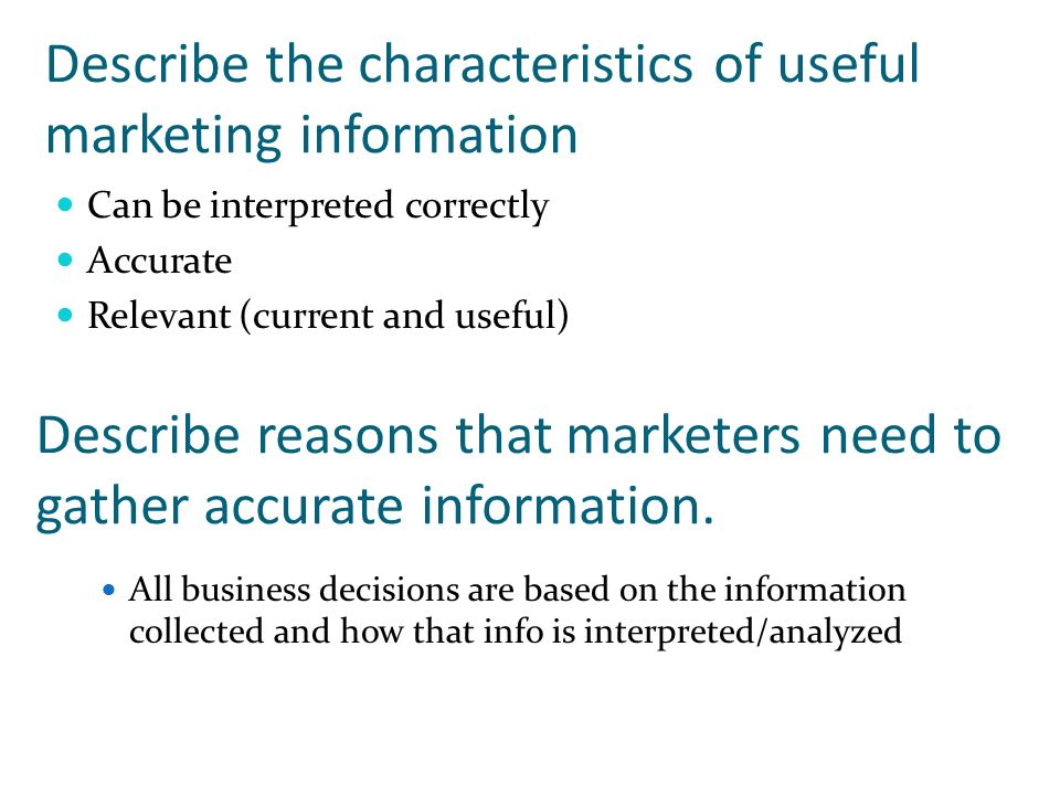 Describe the characteristics of useful marketing information