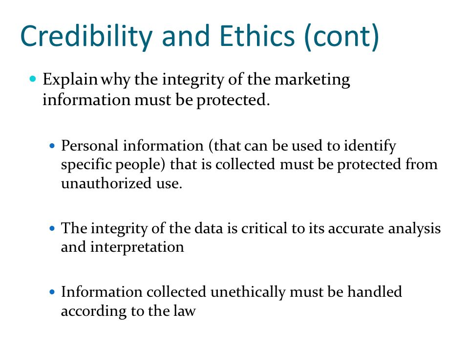 Credibility and Ethics (cont)