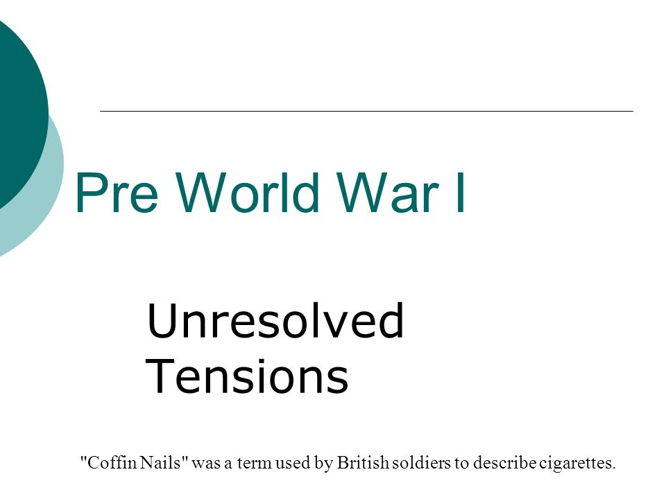 Pre World War I Unresolved Tensions