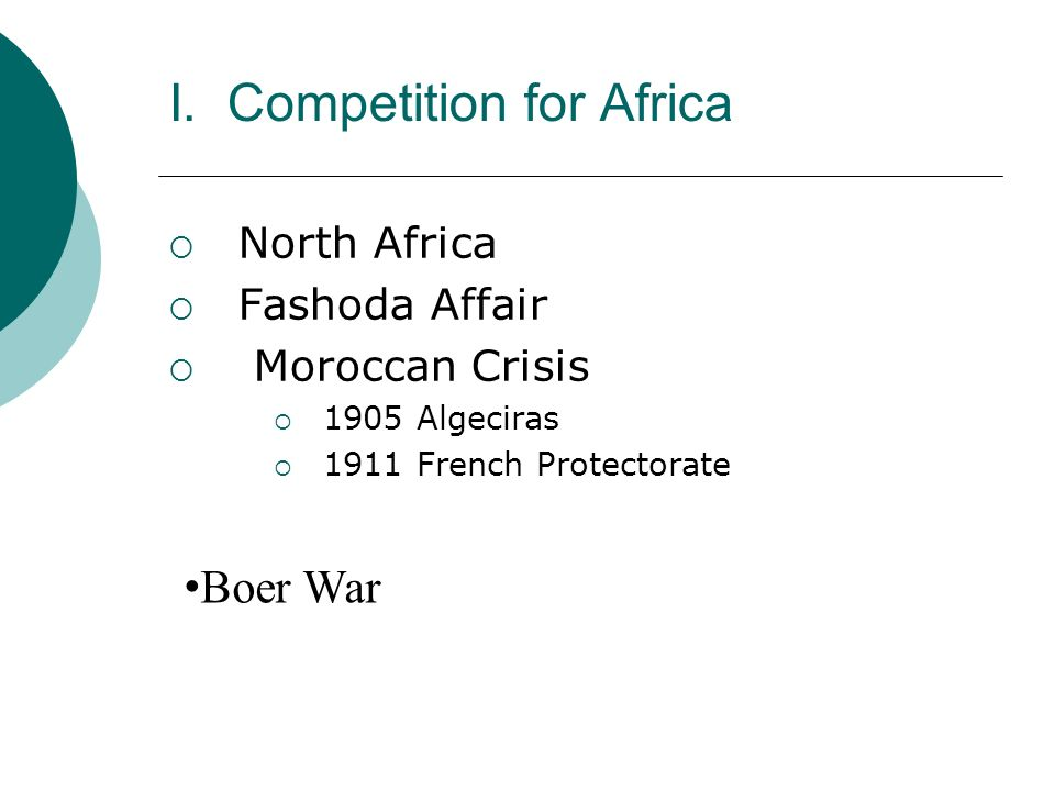I. Competition for Africa