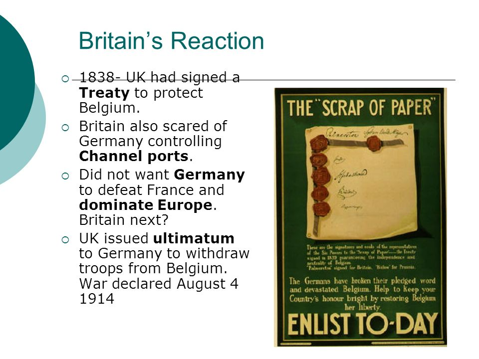 Britain's Reaction 1838- UK had signed a Treaty to protect Belgium.