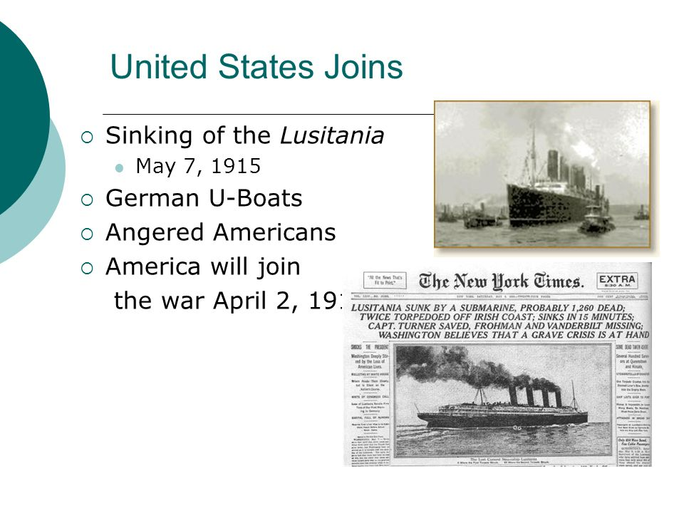 United States Joins Sinking of the Lusitania German U-Boats