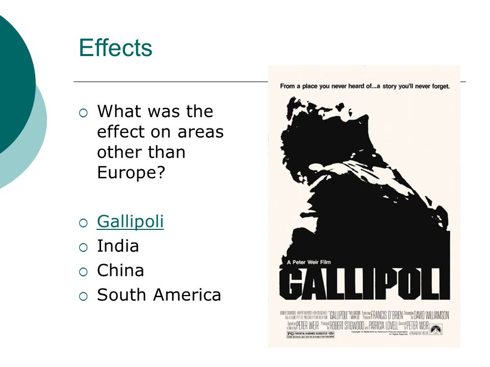Effects What was the effect on areas other than Europe Gallipoli