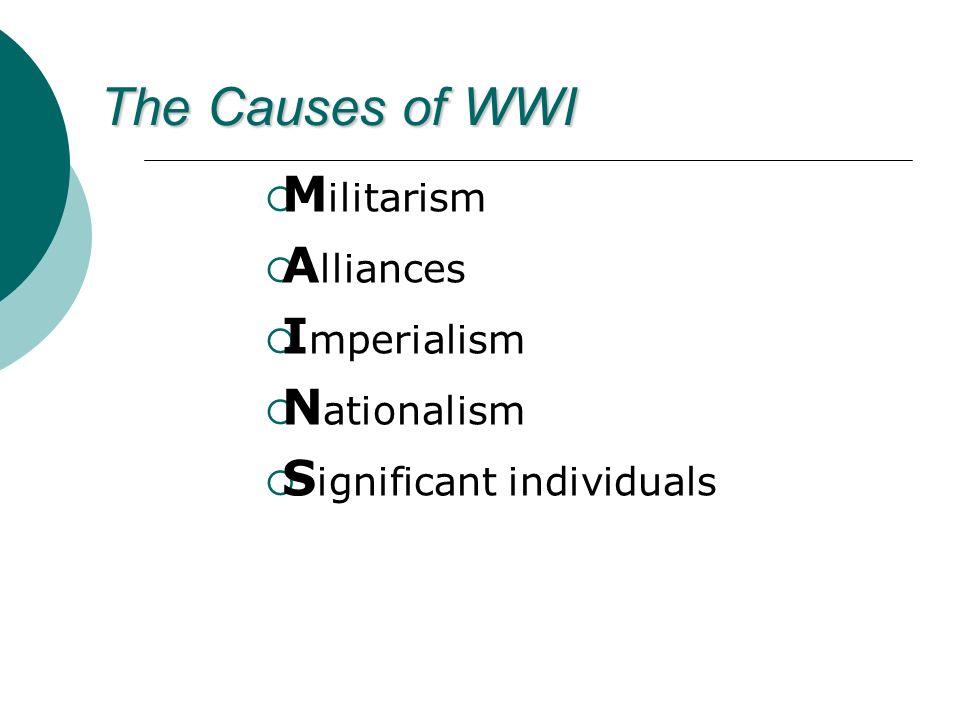 Militarism Alliances Imperialism Nationalism Significant individuals