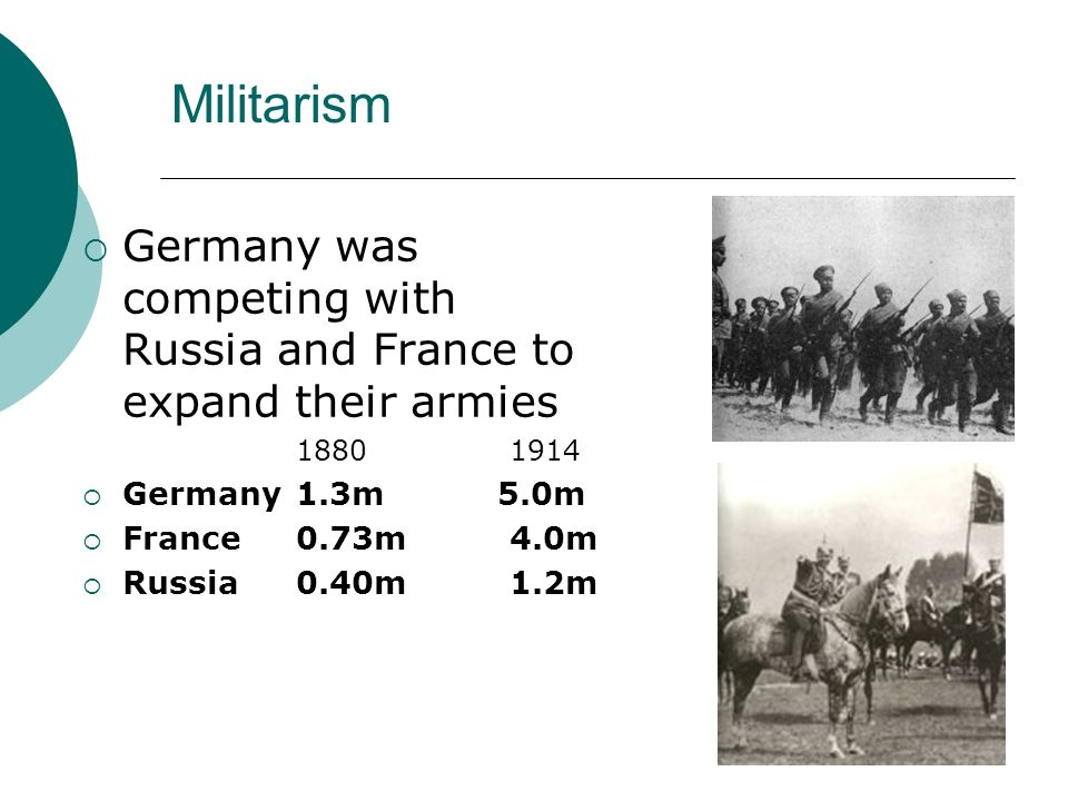 Militarism Germany was competing with Russia and France to expand their armies. 1880 1914. Germany 1.3m 5.0m.