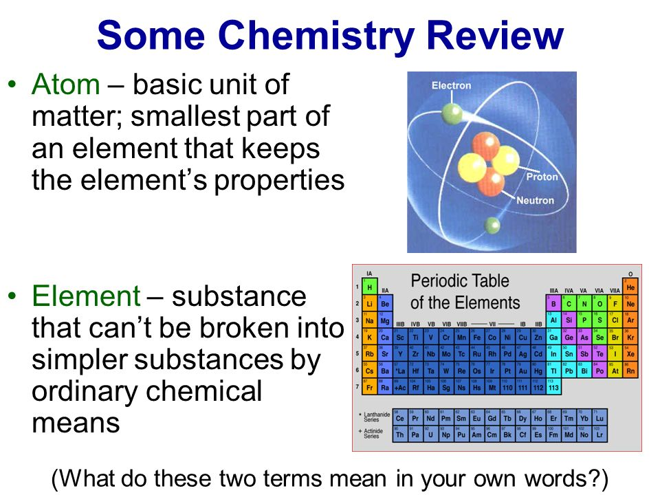 Some Chemistry Review Atom – basic unit of matter; smallest part of an element that keeps the element's properties.