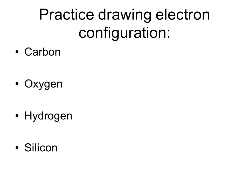 Practice drawing electron configuration: