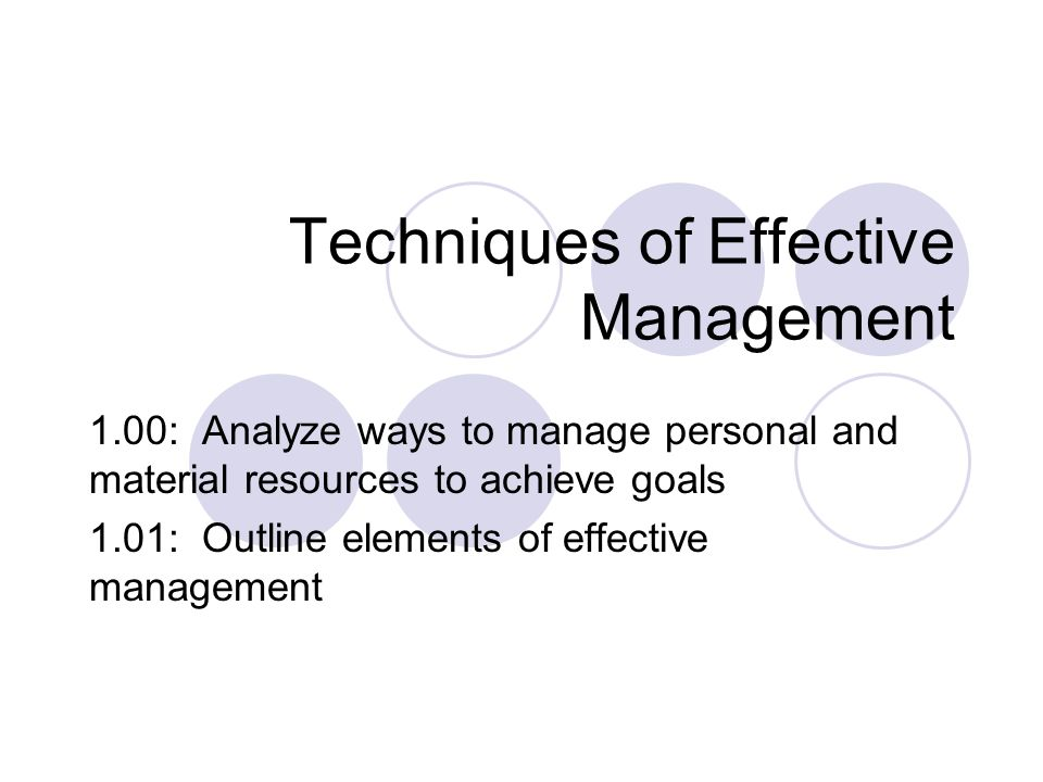 Techniques of Effective Management