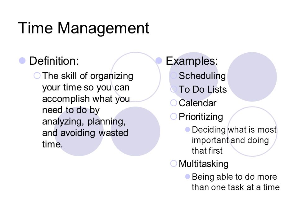Time Management Definition: Examples: