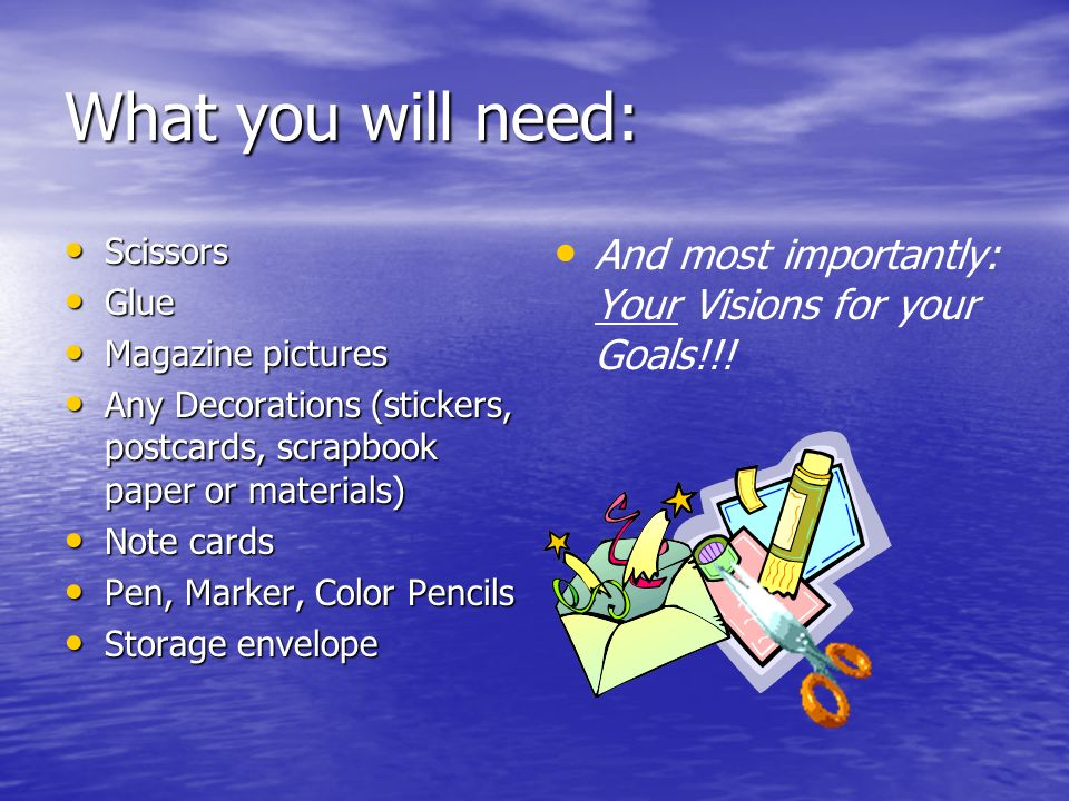 What you will need: Scissors. Glue. Magazine pictures. Any Decorations (stickers, postcards, scrapbook paper or materials)