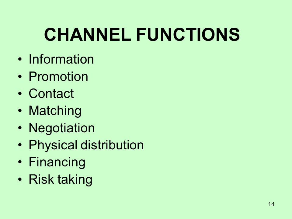 CHANNEL FUNCTIONS Information Promotion Contact Matching Negotiation
