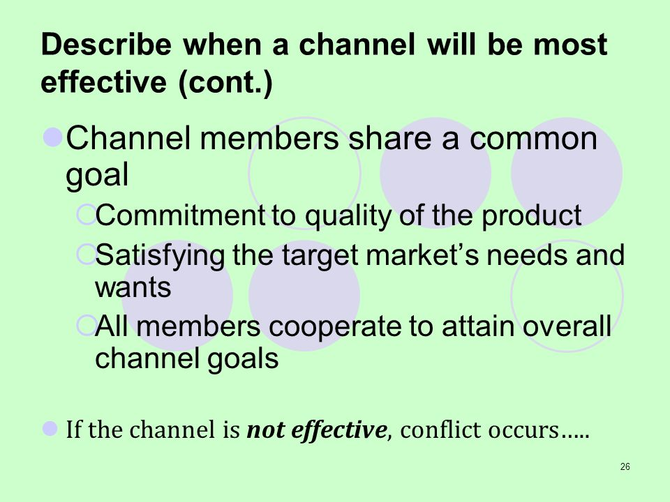 Describe when a channel will be most effective (cont.)