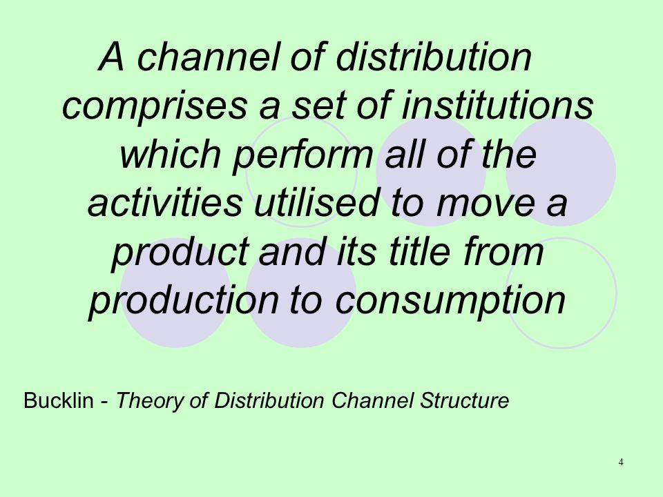 A channel of distribution comprises a set of institutions which perform all of the activities utilised to move a product and its title from production to consumption