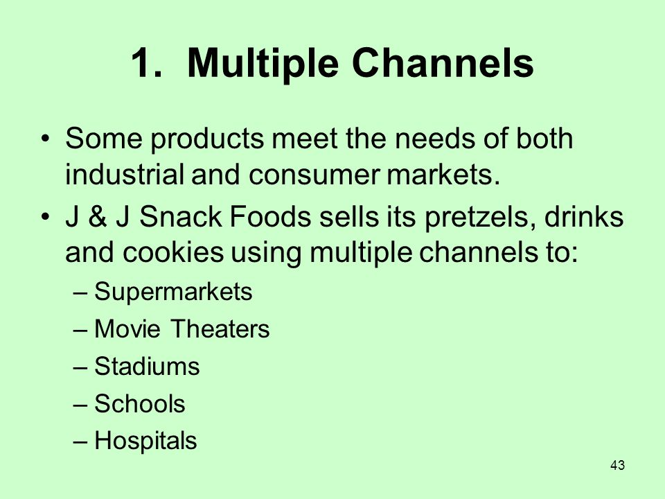 1. Multiple Channels Some products meet the needs of both industrial and consumer markets.