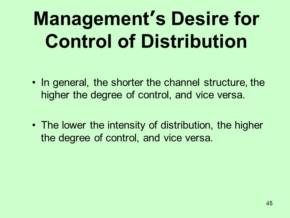 Management's Desire for Control of Distribution