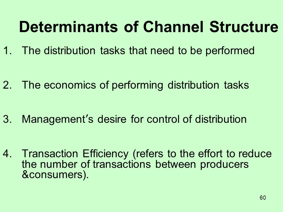 Determinants of Channel Structure