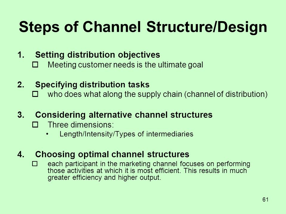 Steps of Channel Structure/Design