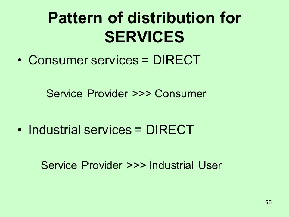 Pattern of distribution for SERVICES