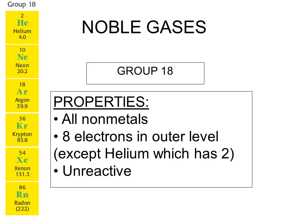 NOBLE GASES PROPERTIES: All nonmetals