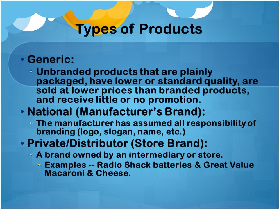 Types of Products Generic: National (Manufacturer's Brand):