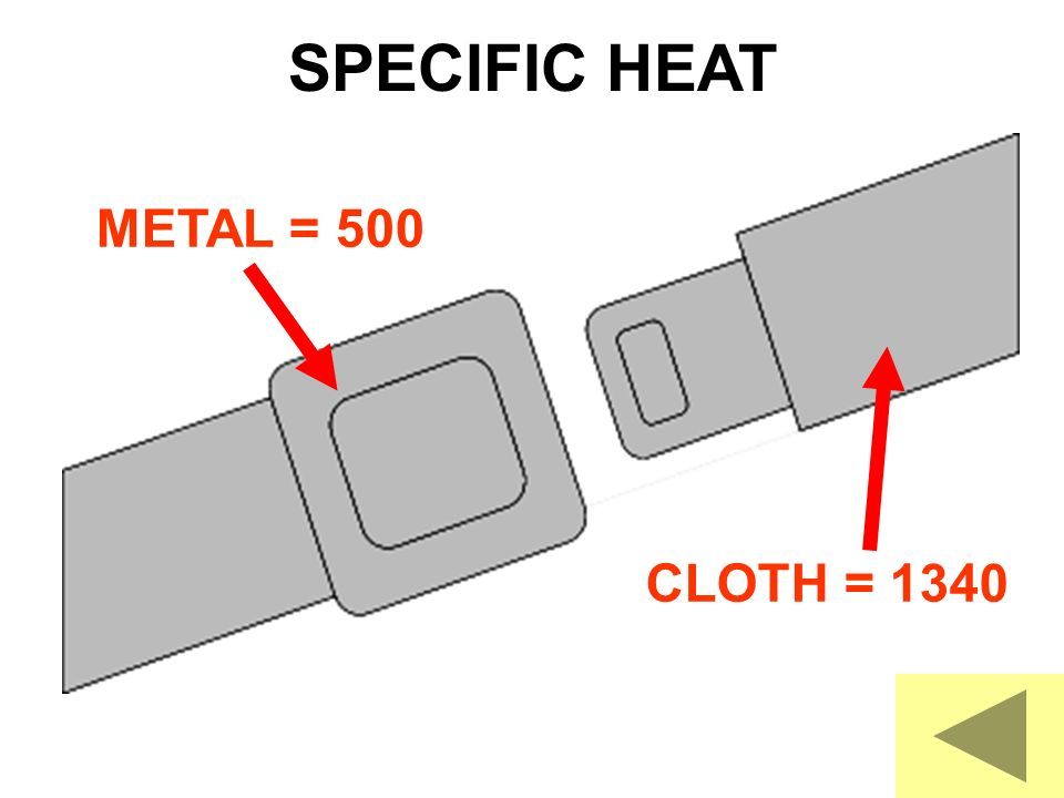 SPECIFIC HEAT METAL = 500 CLOTH = 1340